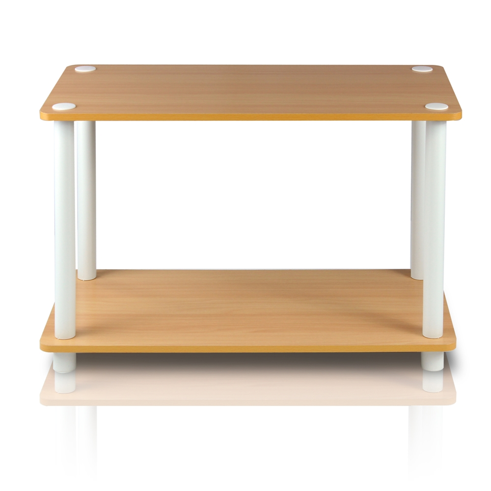 Turn-N-Tube 2-Tier No Tools Tube Shelf/End Table, Beech/White. Picture 4