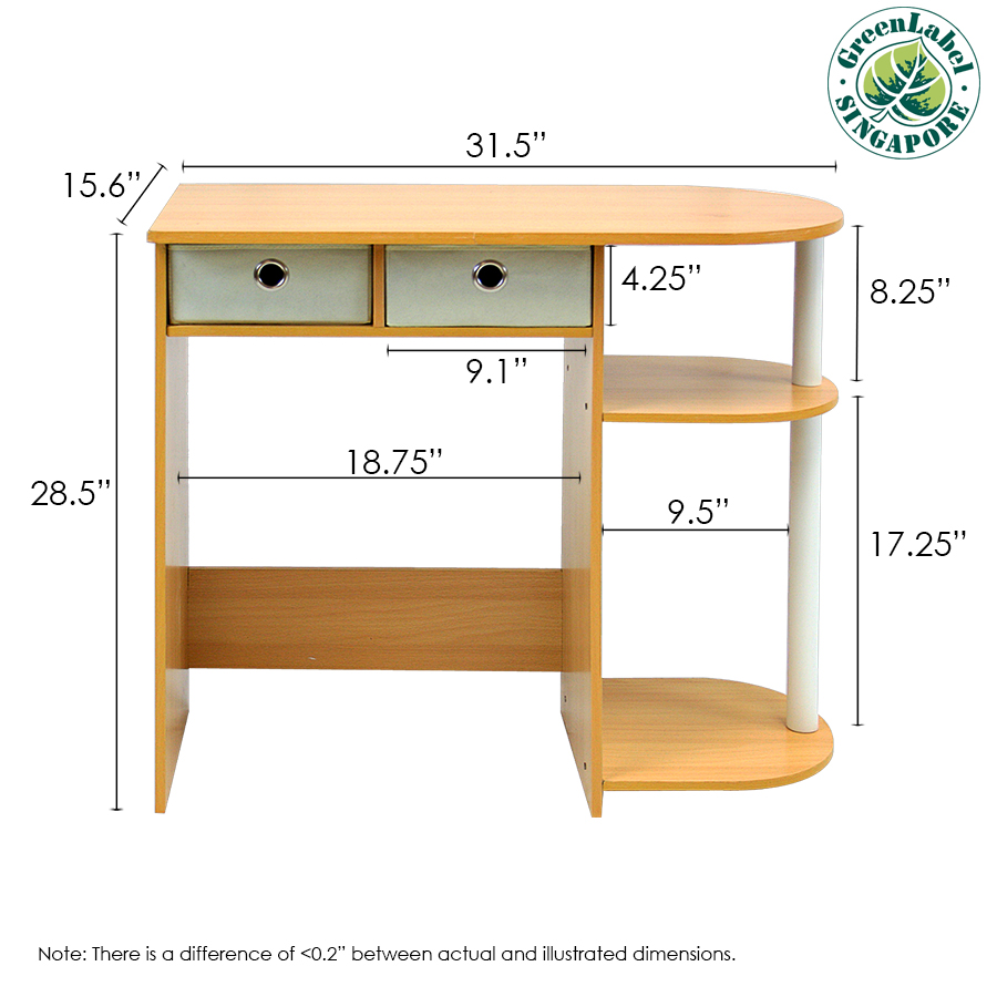 Go Green Home Laptop Notebook Computer Desk/Table, Beech/Ivory/White. Picture 3