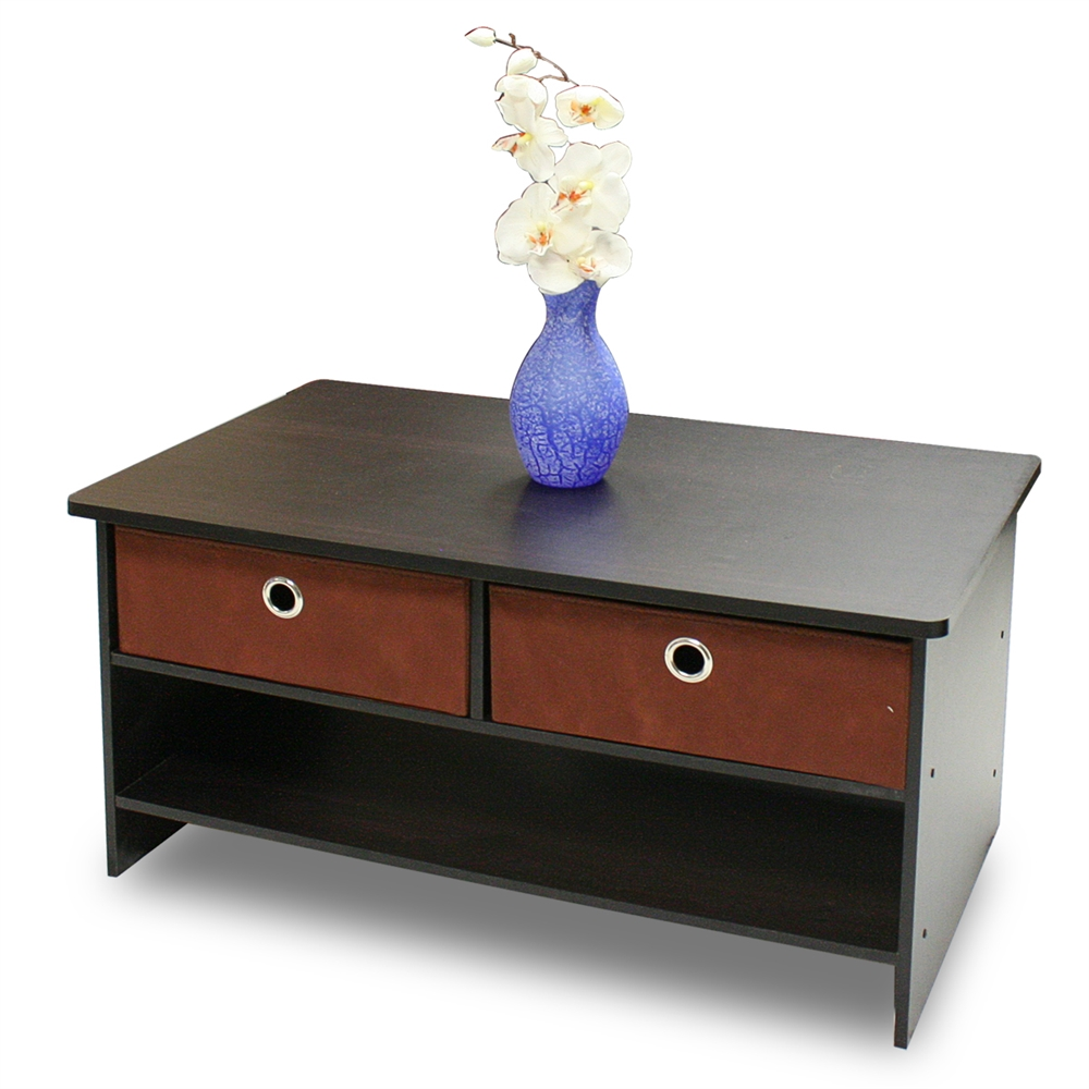 Espresso Finish Living Set, Center Coffee Table w/4 Bin-Type Drawers, Espresso/Brown. Picture 1