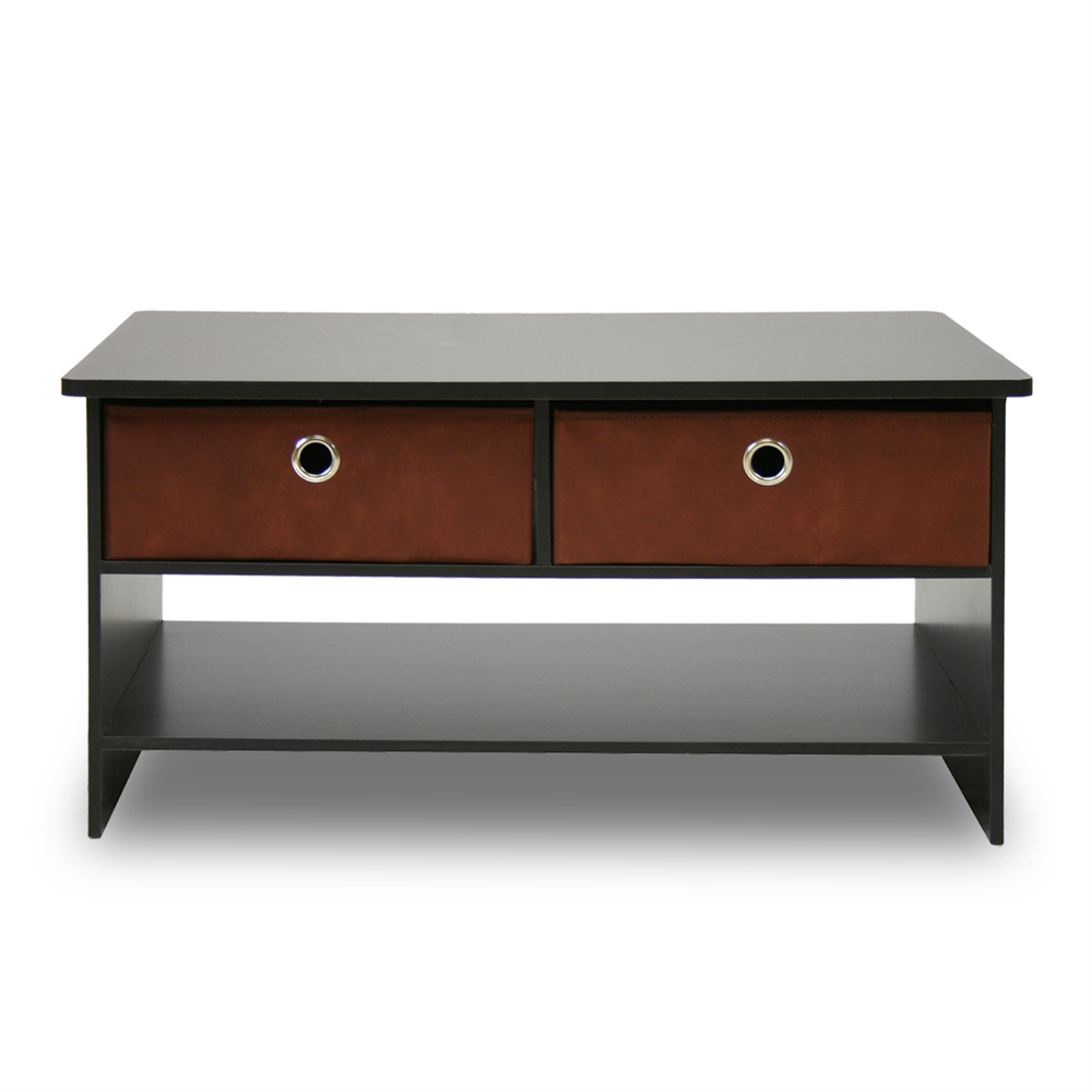 Espresso Finish Living Set, Center Coffee Table w/4 Bin-Type Drawers, Espresso/Brown. Picture 3