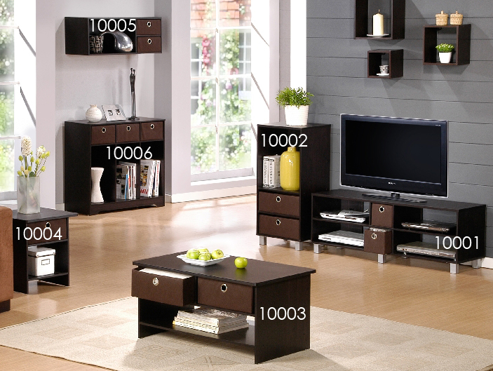 Espresso Finish Living Set, Center Coffee Table w/4 Bin-Type Drawers, Espresso/Brown. Picture 4