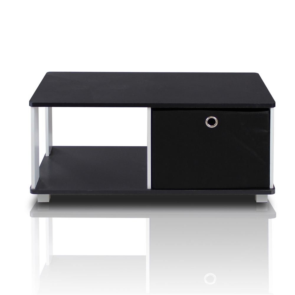 Coffee Table with Bin Drawer, Black & White. Picture 1