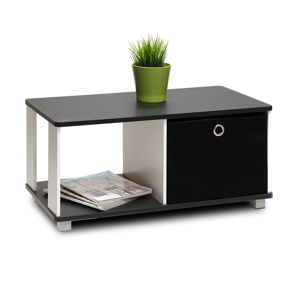 Coffee Table with Bin Drawer, Black & White. Picture 3