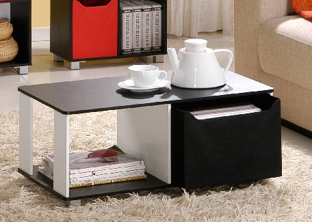 Coffee Table with Bin Drawer, Black & White. Picture 4
