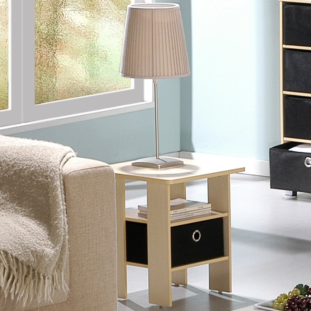 End Table Bedroom Night Stand w/Bin Drawer, Steam Beech/Black. Picture 1