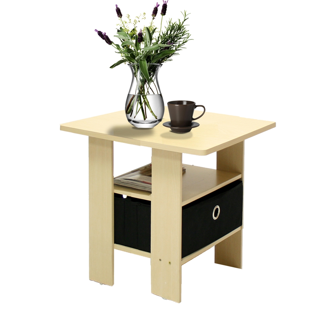 End Table Bedroom Night Stand w/Bin Drawer, Steam Beech/Black. Picture 3