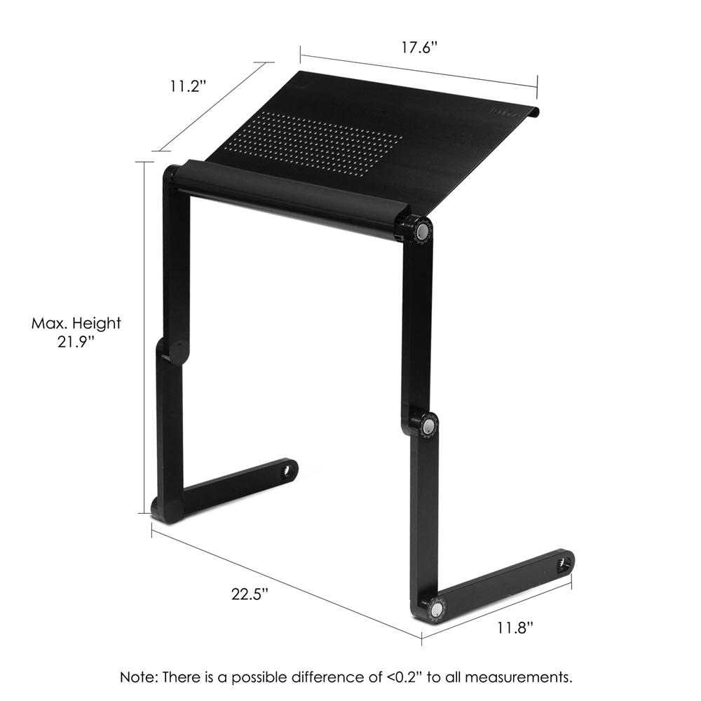 A6-Black Ergonomics Aluminum Vented AdJustable Multi-functional Laptop Desk Portable Bed Tray. Picture 2