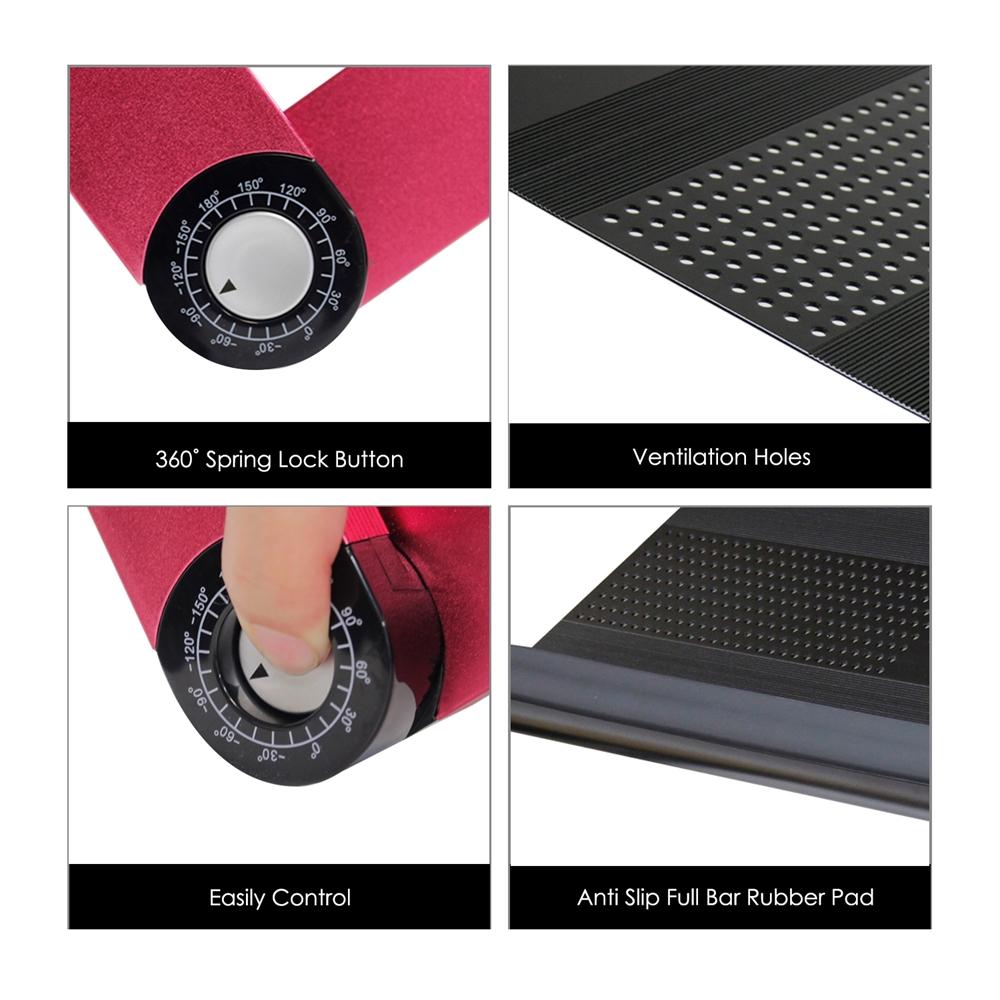 A6-Black Ergonomics Aluminum Vented AdJustable Multi-functional Laptop Desk Portable Bed Tray. Picture 5