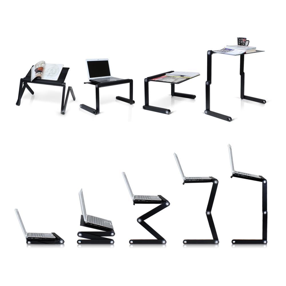 A6-Black Ergonomics Aluminum Vented AdJustable Multi-functional Laptop Desk Portable Bed Tray. Picture 6