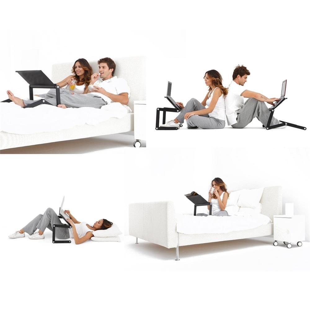 A6-Black Ergonomics Aluminum Vented AdJustable Multi-functional Laptop Desk Portable Bed Tray. Picture 7