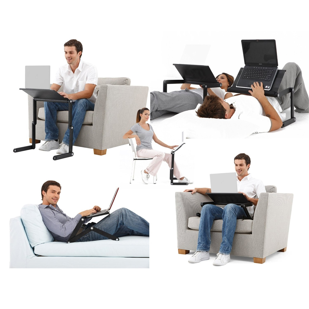 A6-Black Ergonomics Aluminum Vented AdJustable Multi-functional Laptop Desk Portable Bed Tray. Picture 9
