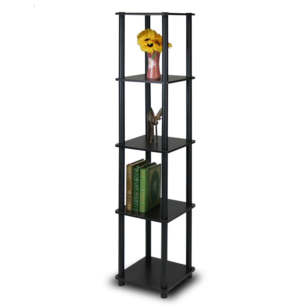 Espresso//Black Turn-N-Tube 5 Tier Corner Shelf