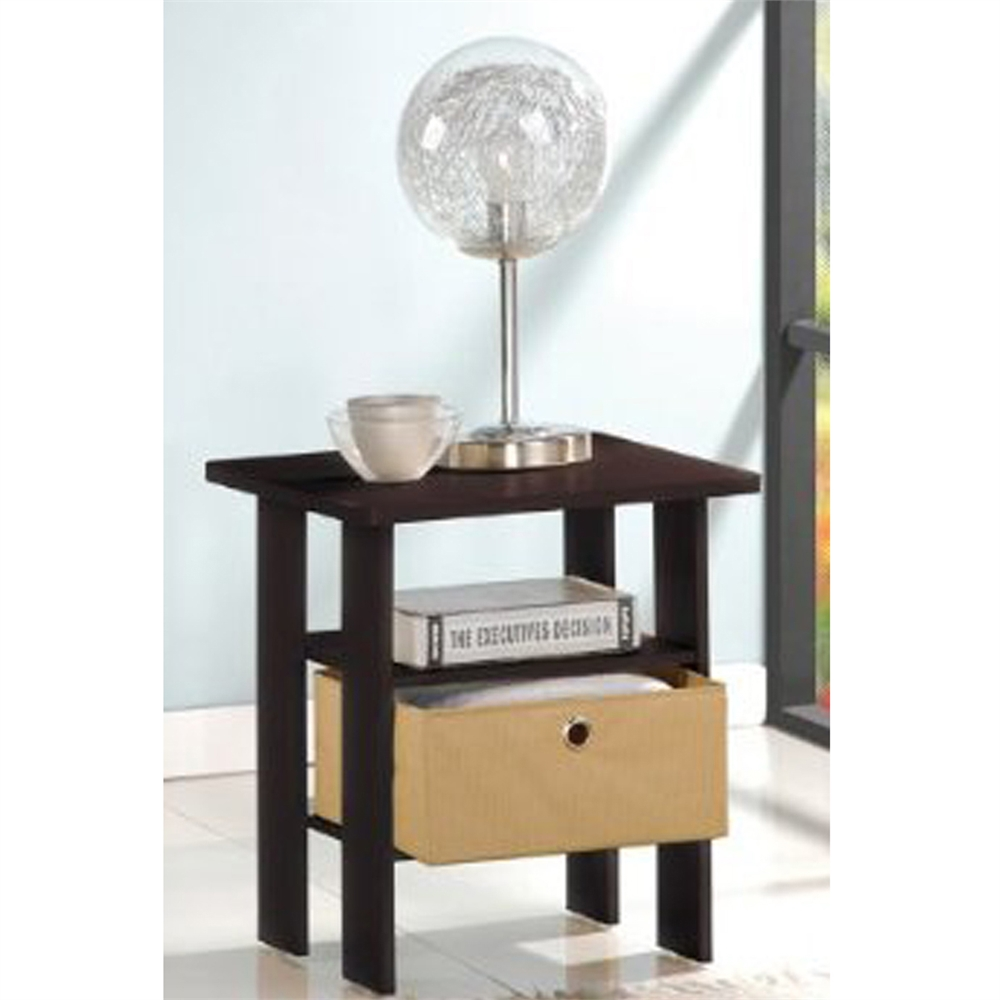 End Table Bedroom Night Stand w/Bin Drawer, Espresso/Brown. Picture 1