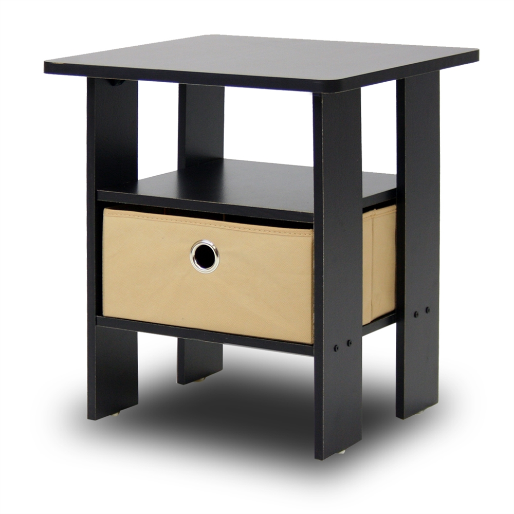 End Table Bedroom Night Stand w/Bin Drawer, Espresso/Brown. Picture 2
