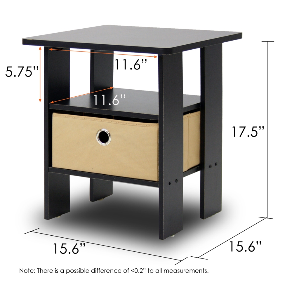End Table Bedroom Night Stand w/Bin Drawer, Espresso/Brown. Picture 3