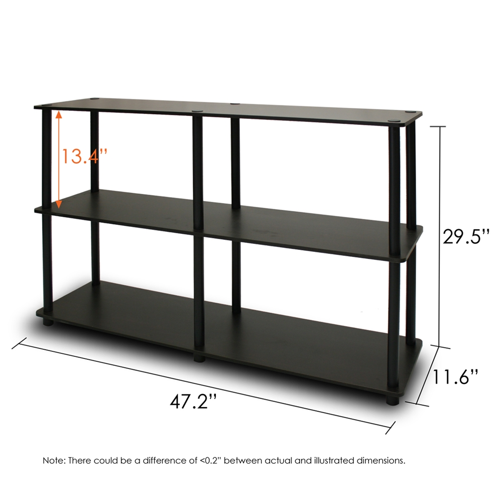 Turn-N-Tube 3-Tier Double Size Storage Display Rack, Espresso/Black. Picture 2