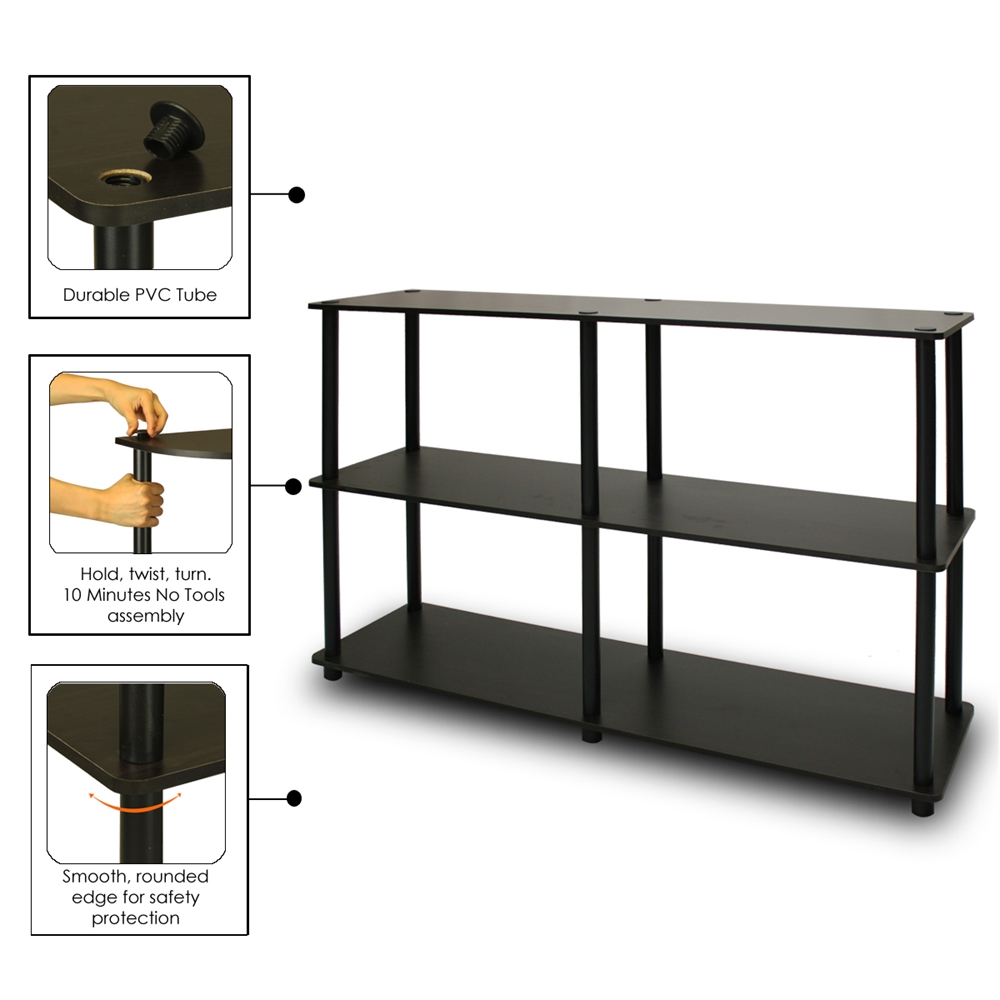 Turn-N-Tube 3-Tier Double Size Storage Display Rack, Espresso/Black. Picture 3