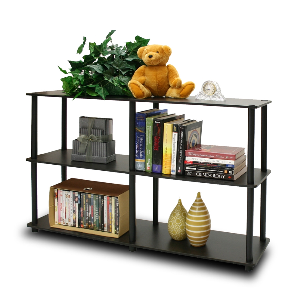 Turn-N-Tube 3-Tier Double Size Storage Display Rack, Espresso/Black. Picture 1
