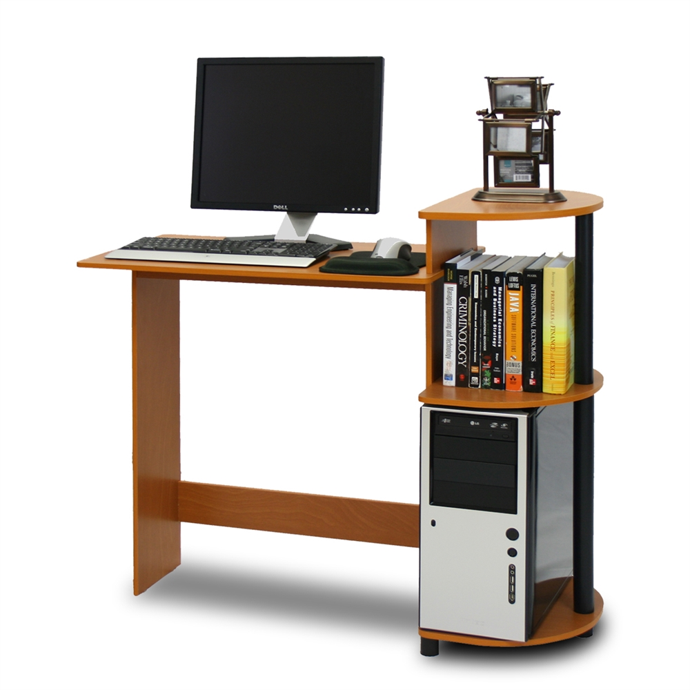 Compact Computer Desk, Light Cherry/Black. Picture 1
