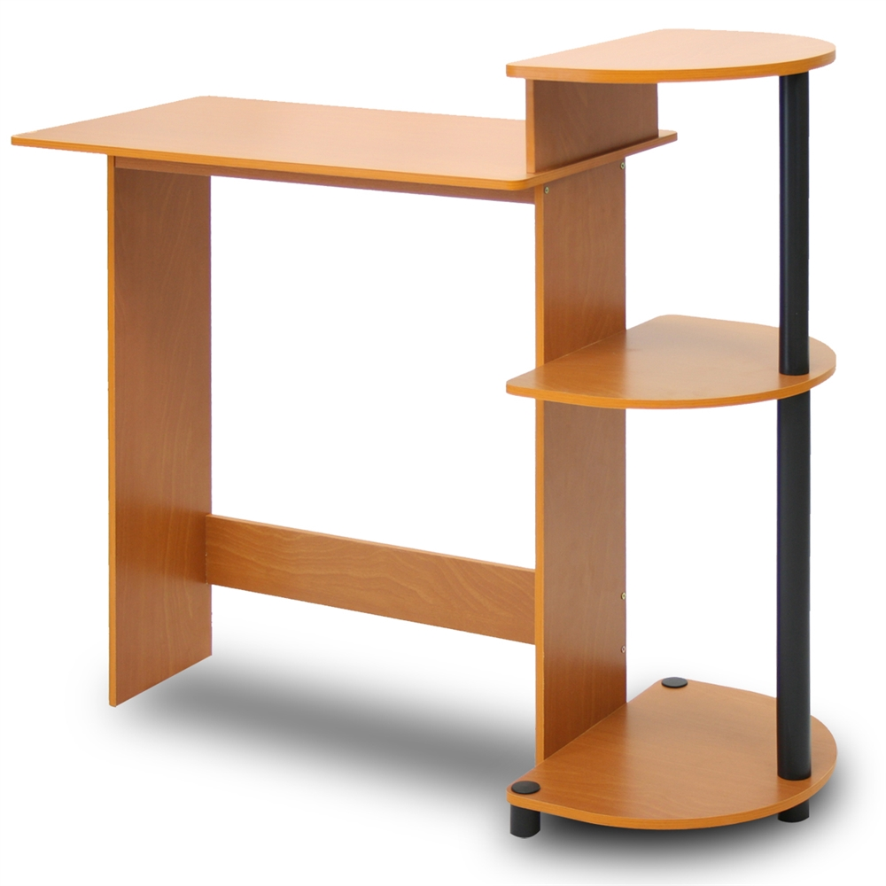 Compact Computer Desk, Light Cherry/Black. Picture 4