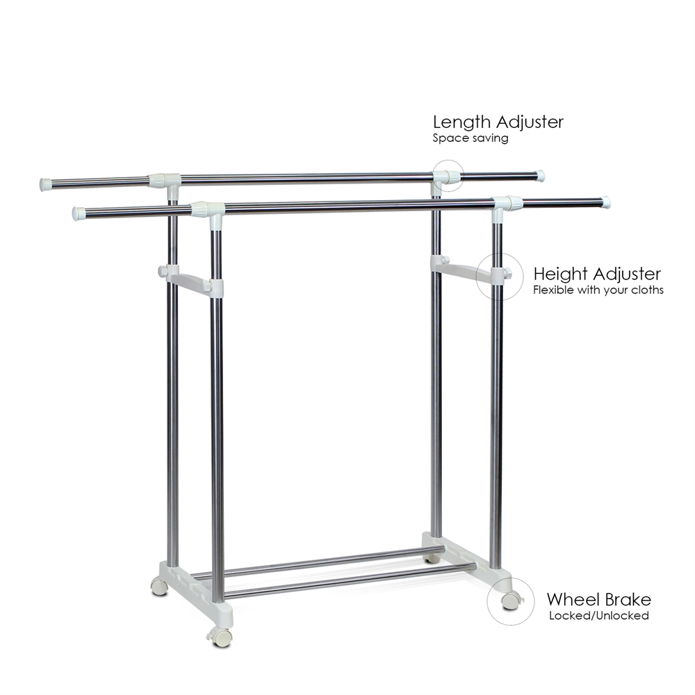 Yijin Heavy Duty Dual Level Retractable Rolling Drying Rack. Picture 3