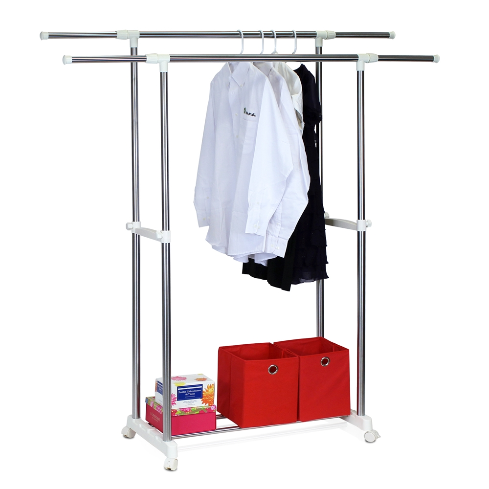 Yijin Heavy Duty Dual Level Retractable Rolling Drying Rack. Picture 4