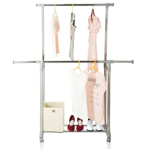 Yijin Heavy Duty Dual Level Retractable Rolling Drying Rack. Picture 5