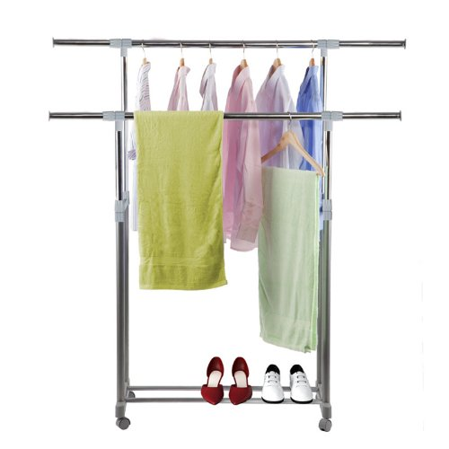 Yijin Heavy Duty Dual Level Retractable Rolling Drying Rack. Picture 6
