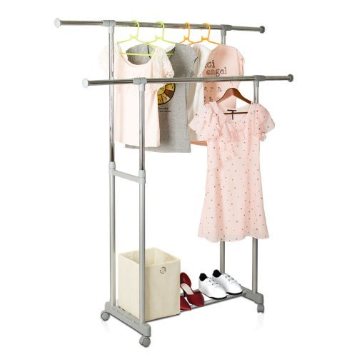Yijin Heavy Duty Dual Level Retractable Rolling Drying Rack. Picture 7