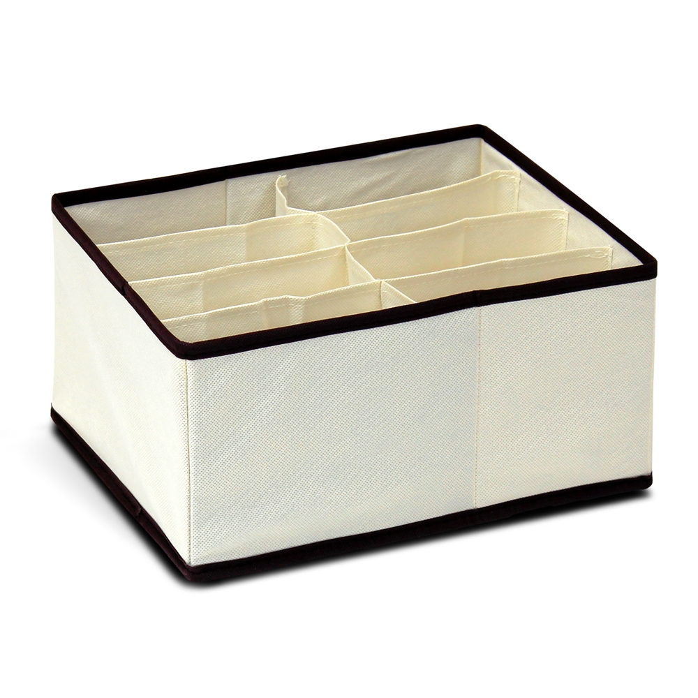 Non-Woven Fabric 4x2 Deep Soft Storage Organizer, Ivory w/Mid Brown Trim. Picture 1