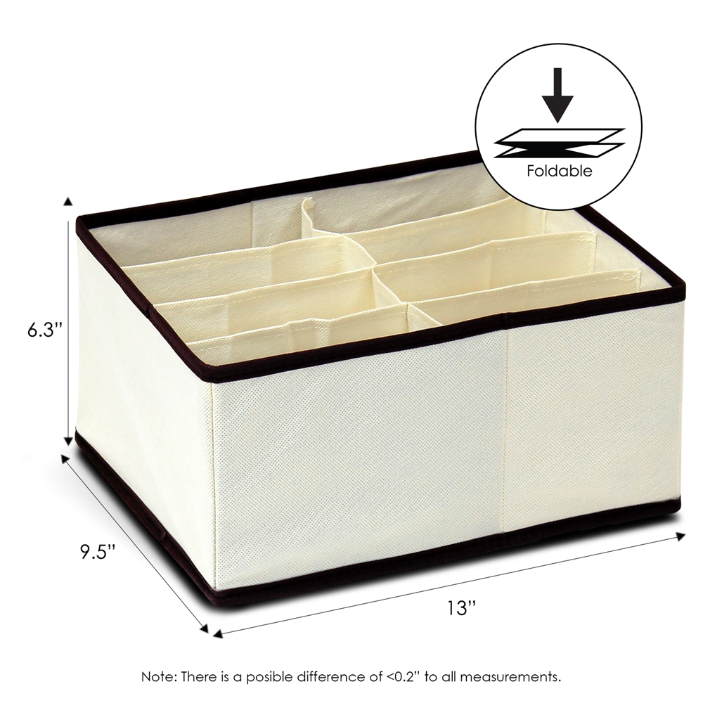 Non-Woven Fabric 4x2 Deep Soft Storage Organizer, Ivory w/Mid Brown Trim. Picture 2