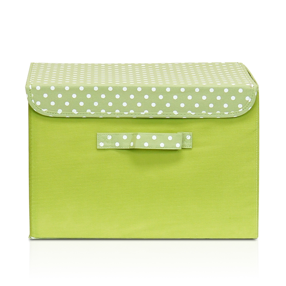 Non-Woven Fabric Soft Storage Organizer with Lid, Green. Picture 1