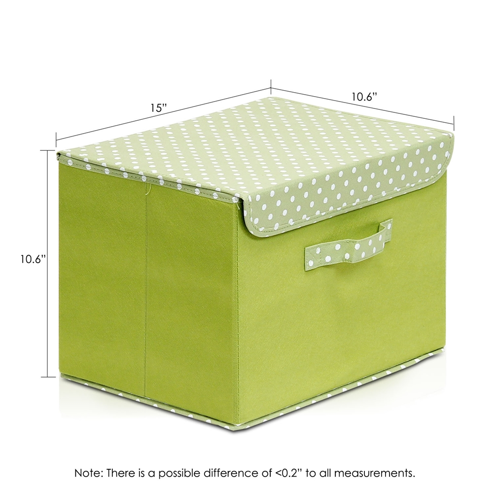 Non-Woven Fabric Soft Storage Organizer with Lid, Green. Picture 2