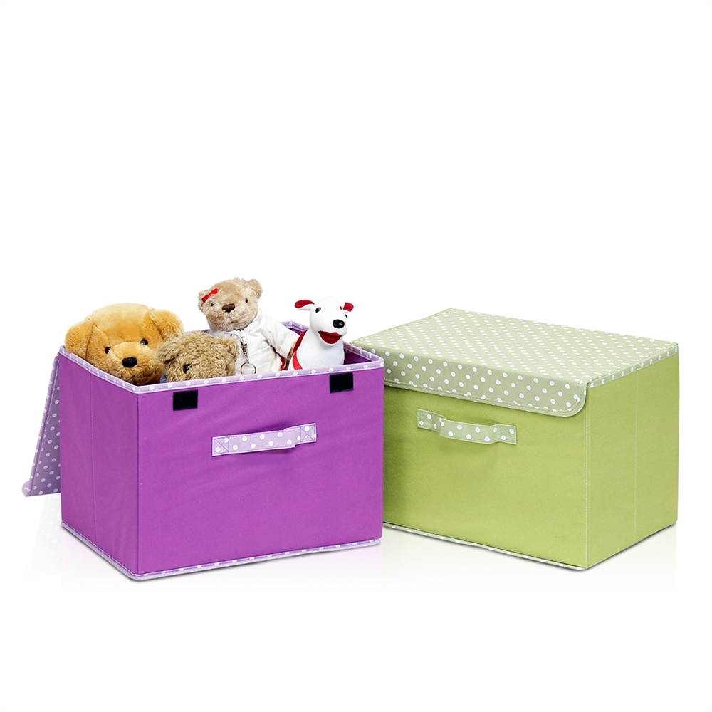 Non-Woven Fabric Soft Storage Organizer with Lid, Green. Picture 3