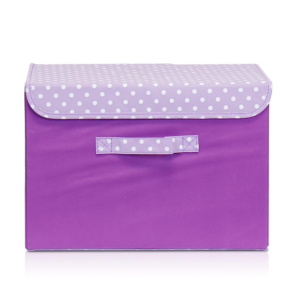 Non-Woven Fabric Soft Storage Organizer with Lid, Purple. Picture 1