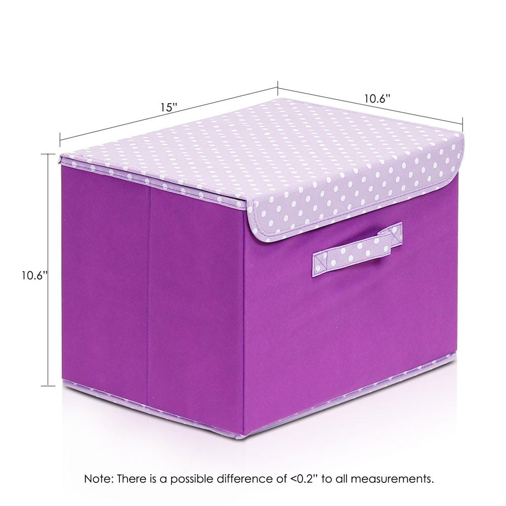 Non-Woven Fabric Soft Storage Organizer with Lid, Purple. Picture 2