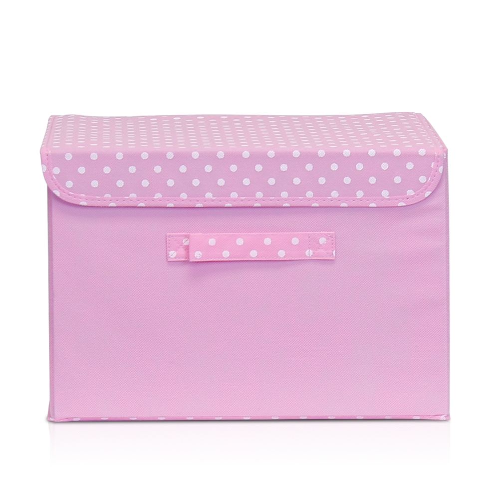 Non-Woven Fabric Soft Storage Organizer with Lid, Pink. Picture 1