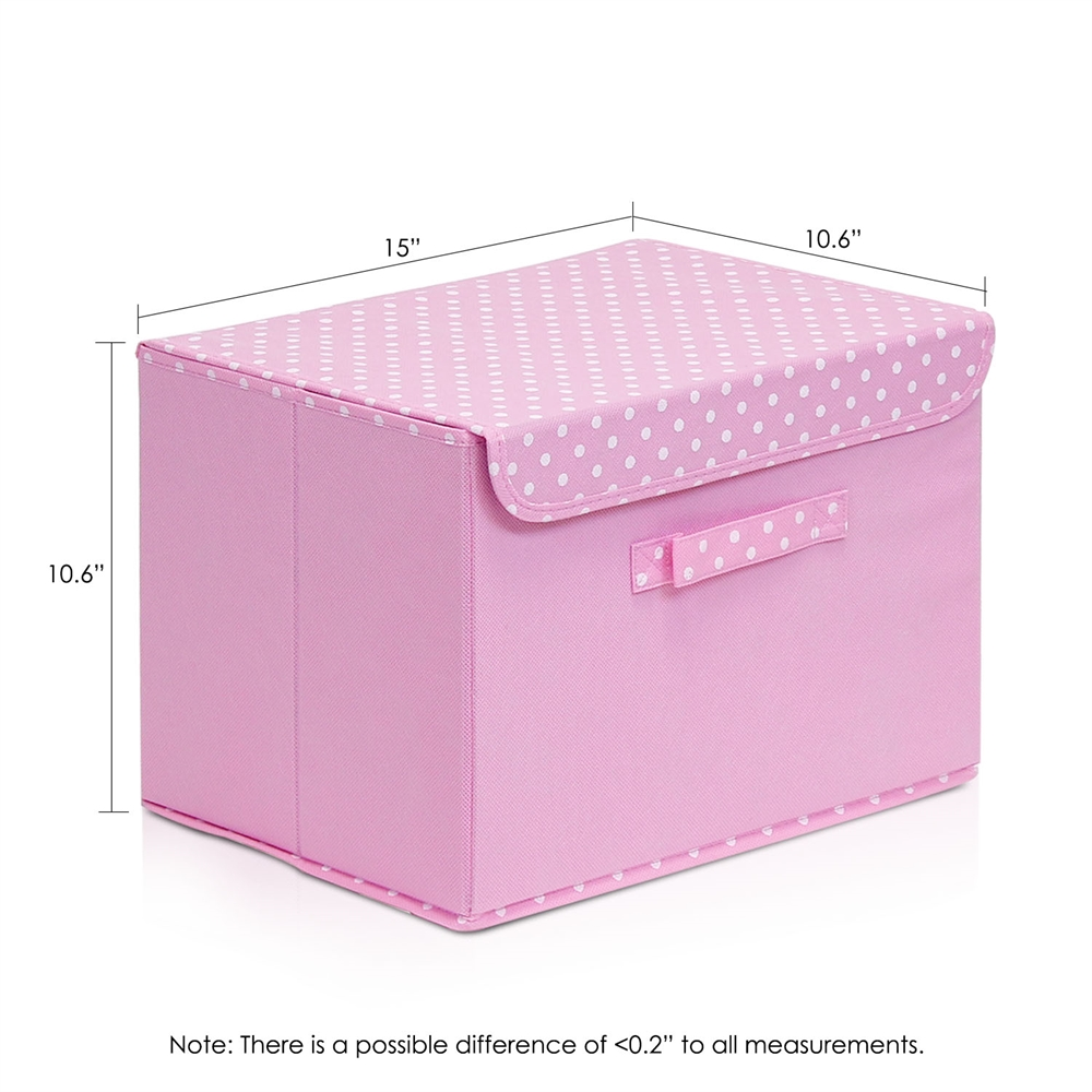 Non-Woven Fabric Soft Storage Organizer with Lid, Pink. Picture 2