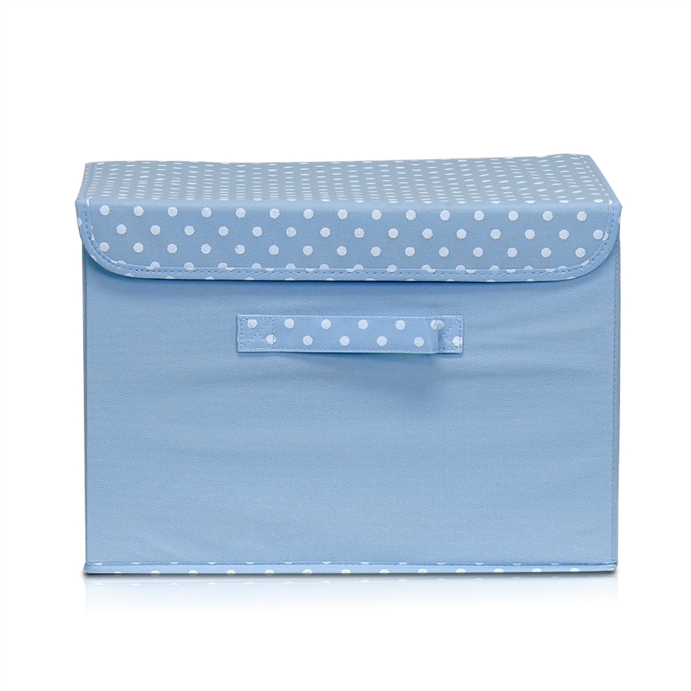 Non-Woven Fabric Soft Storage Organizer with Lid, Blue. Picture 1