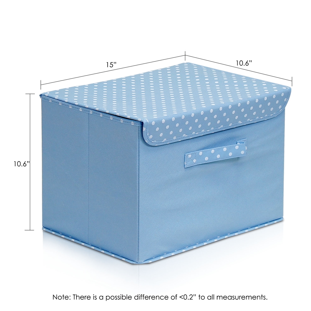 Non-Woven Fabric Soft Storage Organizer with Lid, Blue. Picture 2