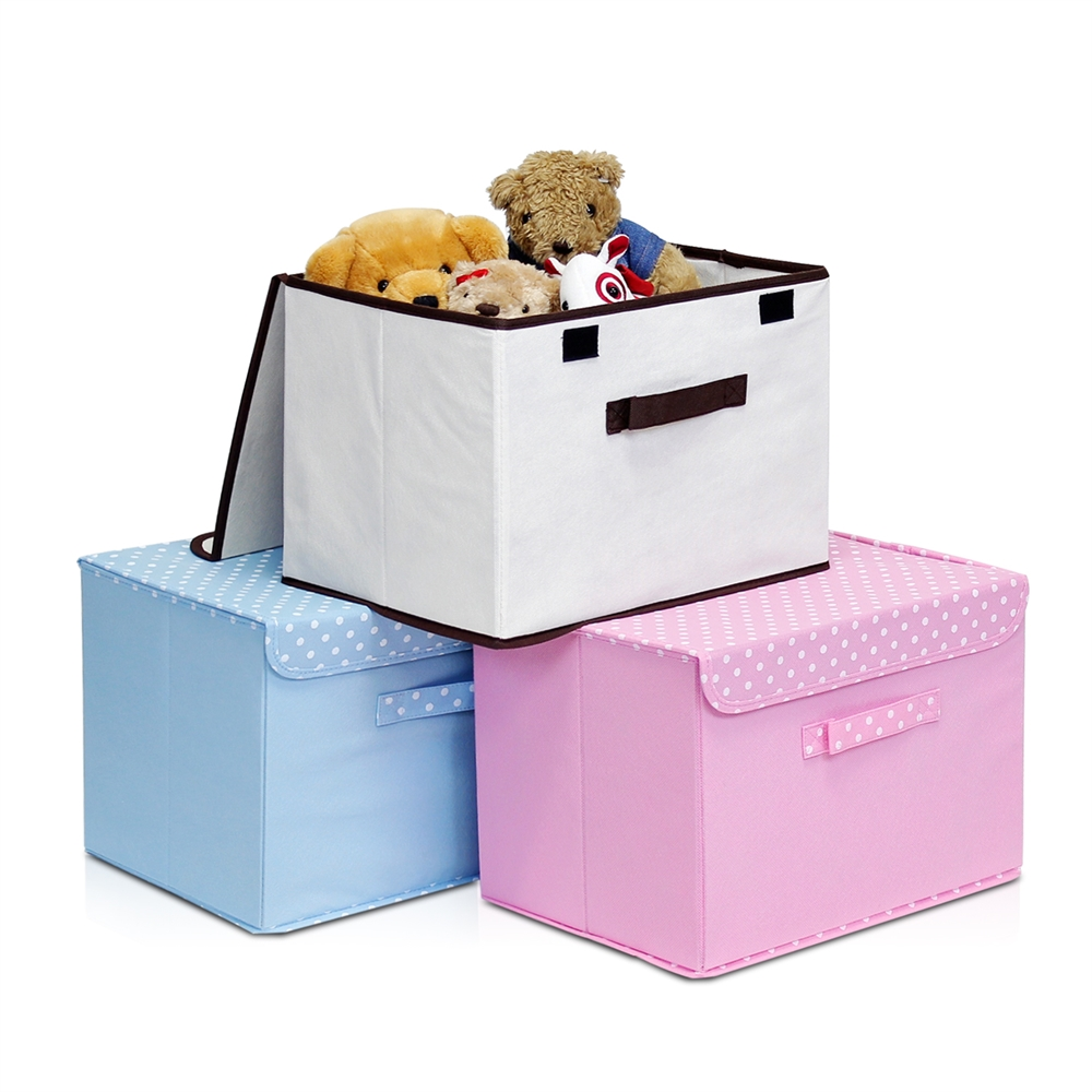 Non-Woven Fabric Soft Storage Organizer with Lid, Blue. Picture 3