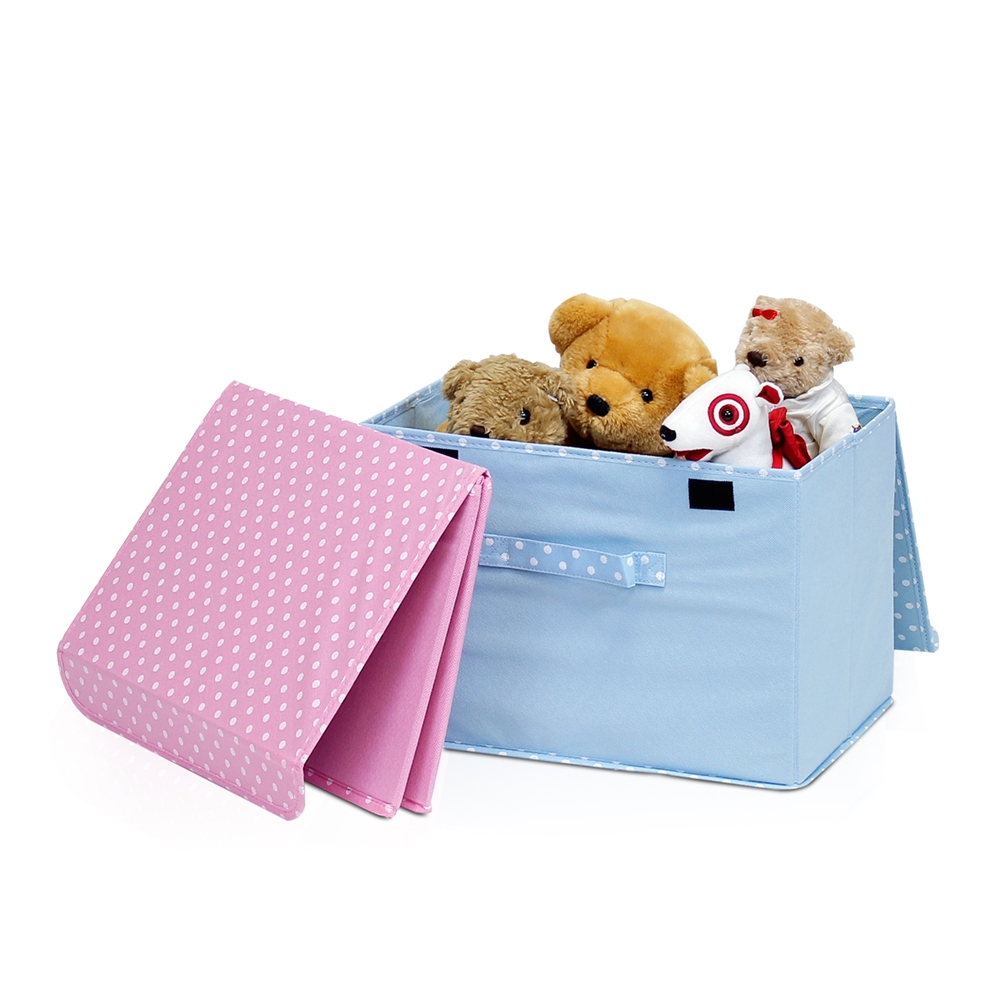 Non-Woven Fabric Soft Storage Organizer with Lid, Blue. Picture 4
