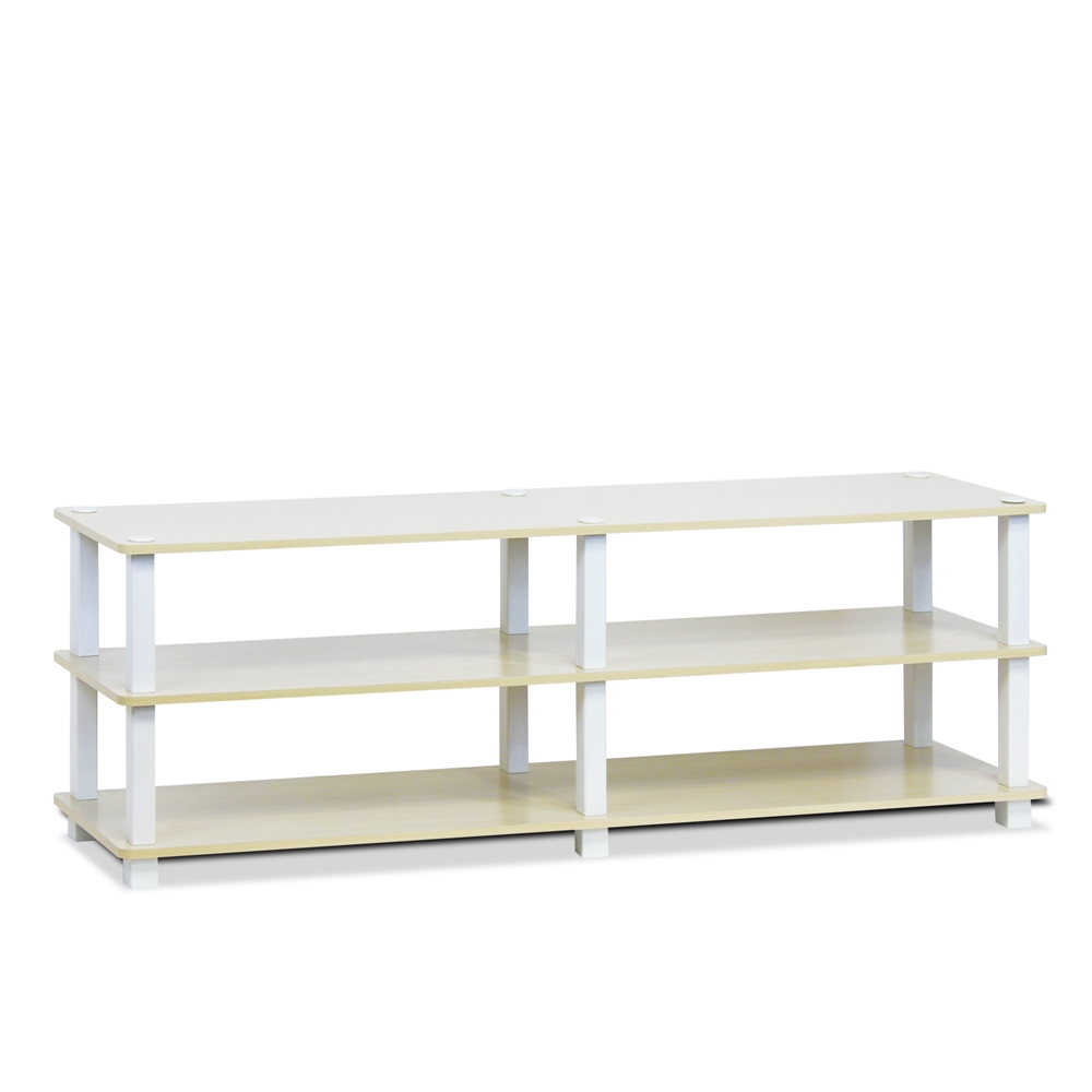 TST No Tools 3-Tier Wide Shoe Storage Rack, Steam Beech/White. Picture 1
