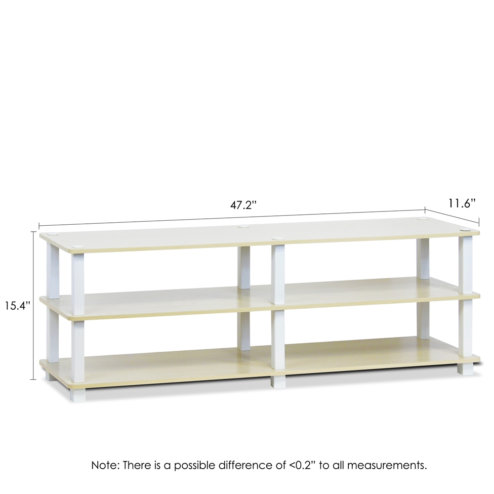 TST No Tools 3-Tier Wide Shoe Storage Rack, Steam Beech/White. Picture 2