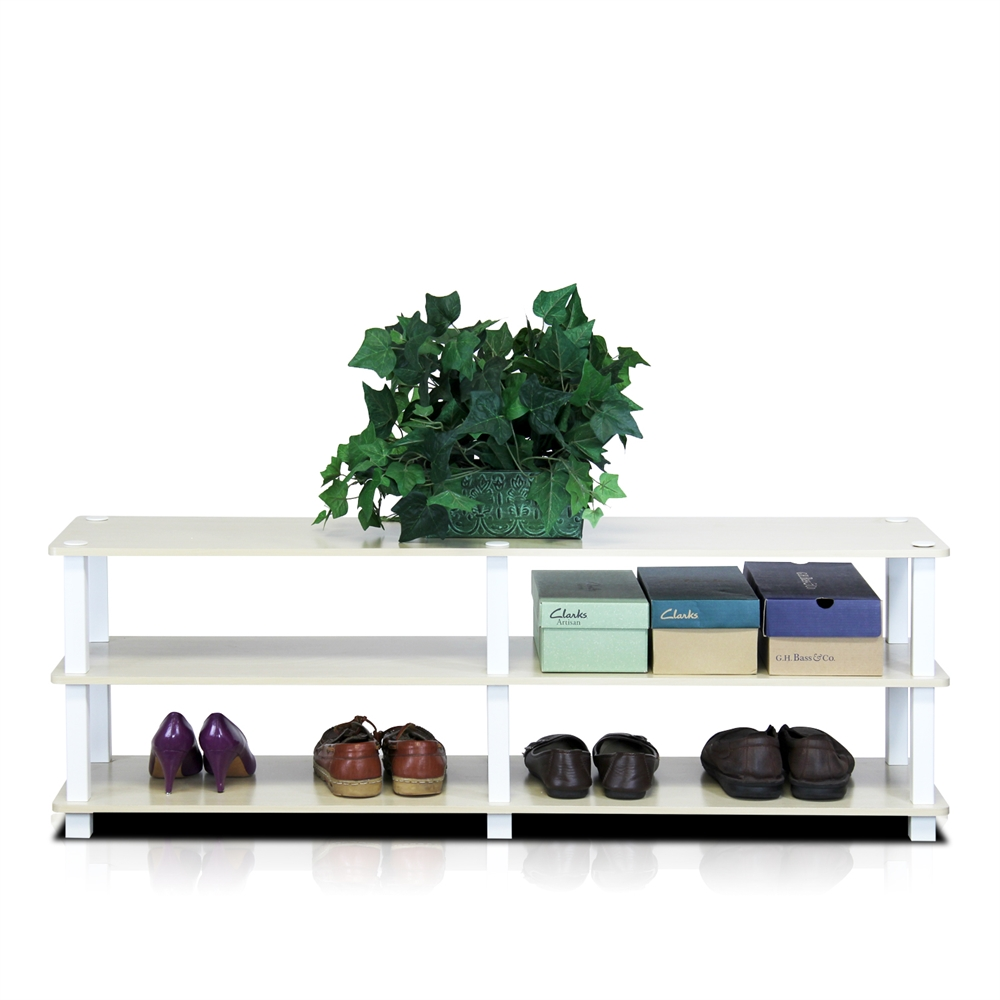 TST No Tools 3-Tier Wide Shoe Storage Rack, Steam Beech/White. Picture 4