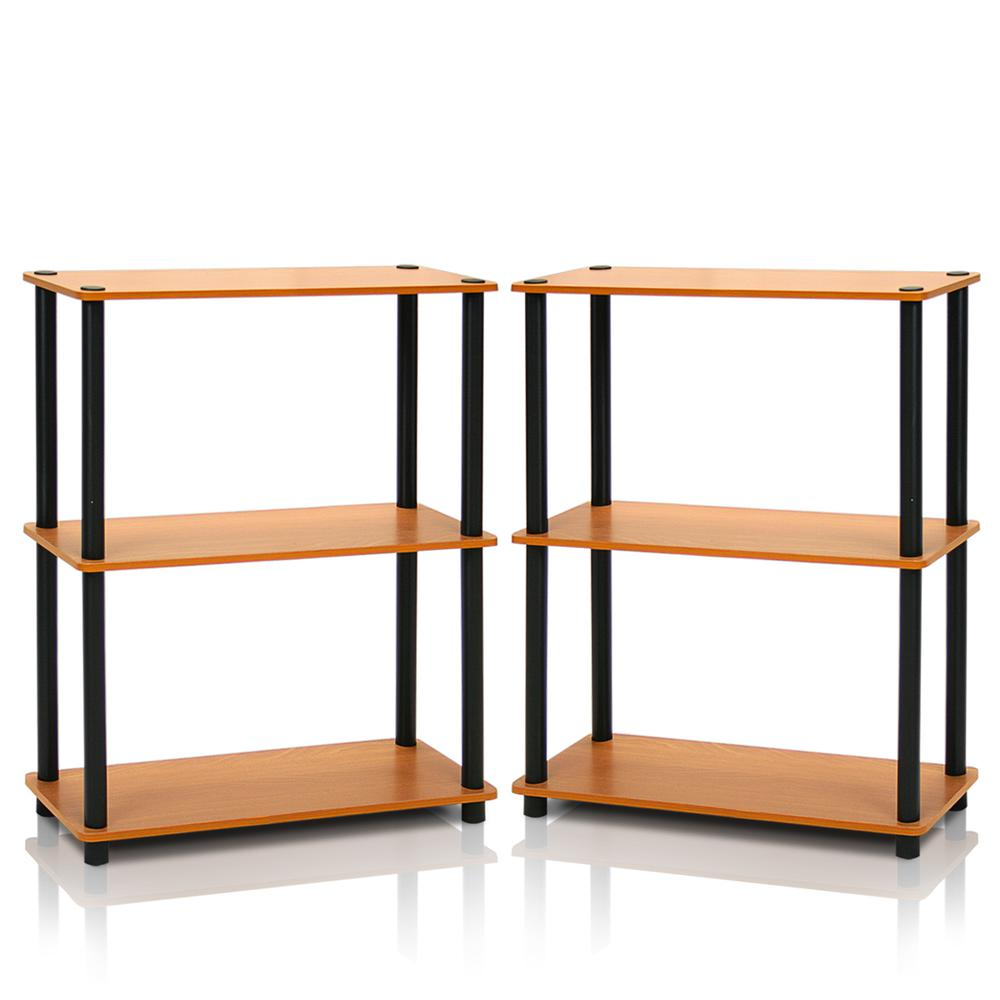 Furinno 2-10024LC Turn-N-Tube 3-Tier Compact Multipurpose Shelf Display Rack, Light Cherry, Set of 2. Picture 1