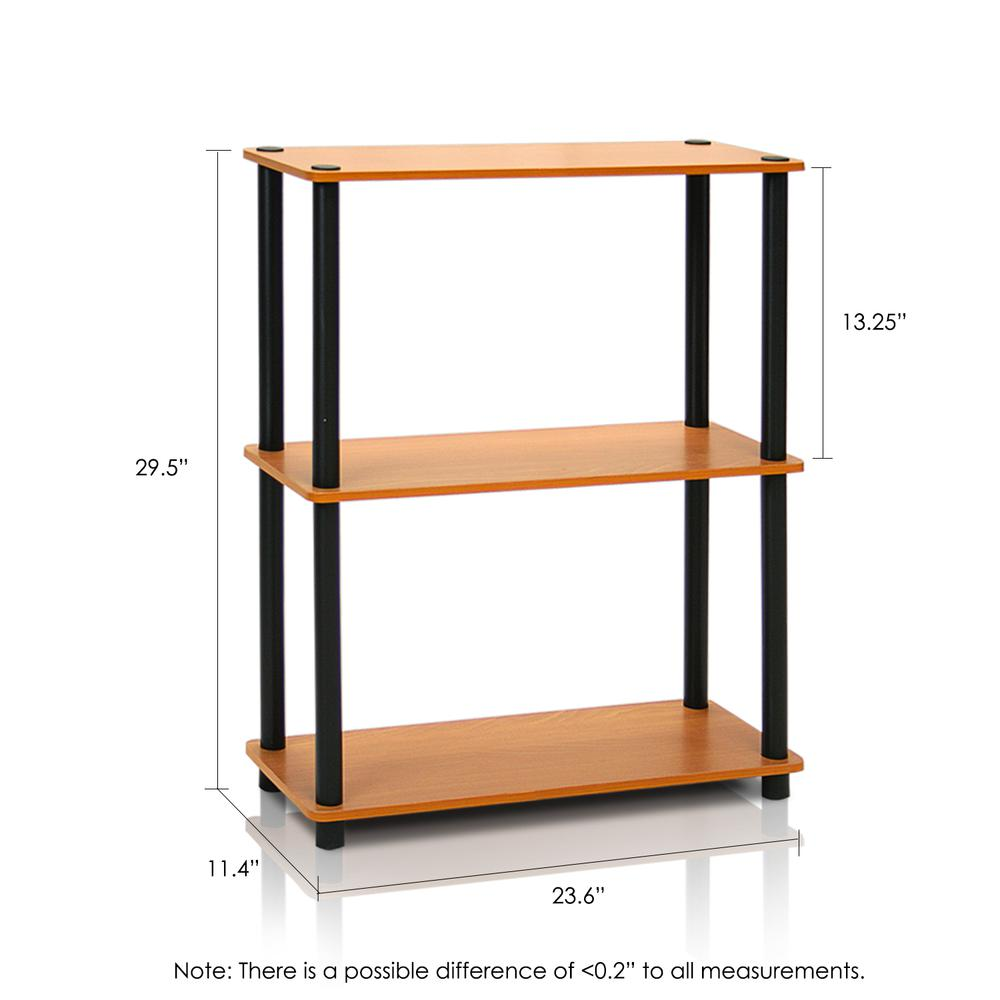 Furinno 2-10024LC Turn-N-Tube 3-Tier Compact Multipurpose Shelf Display Rack, Light Cherry, Set of 2. Picture 2