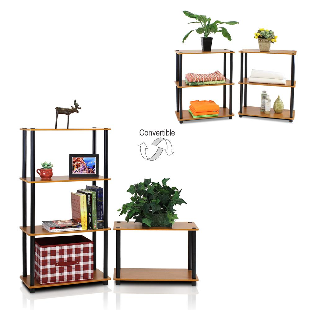 Furinno 2-10024LC Turn-N-Tube 3-Tier Compact Multipurpose Shelf Display Rack, Light Cherry, Set of 2. Picture 3