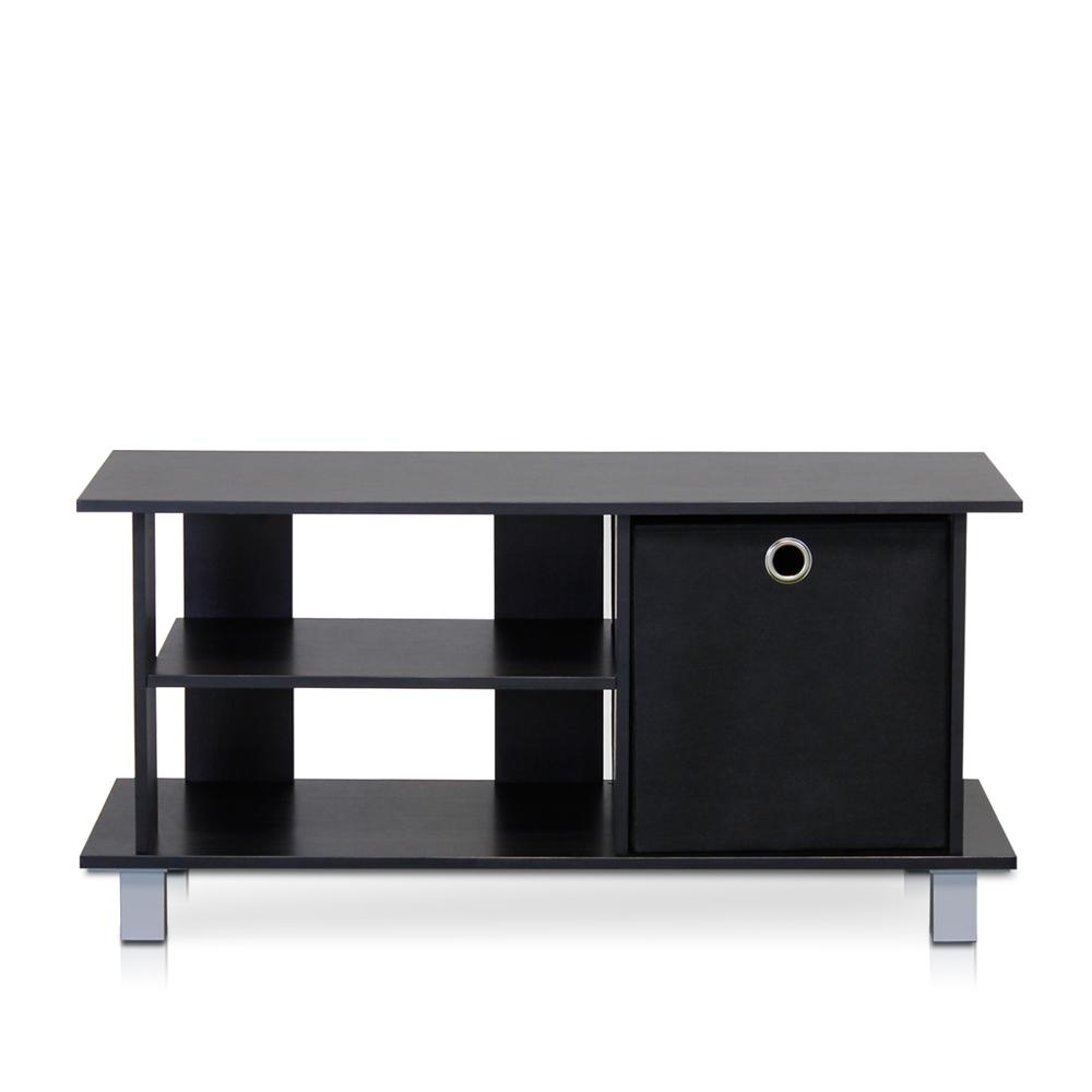 Simplistic TV Entertainment Center with Bin Drawers, Espresso/Black. Picture 1