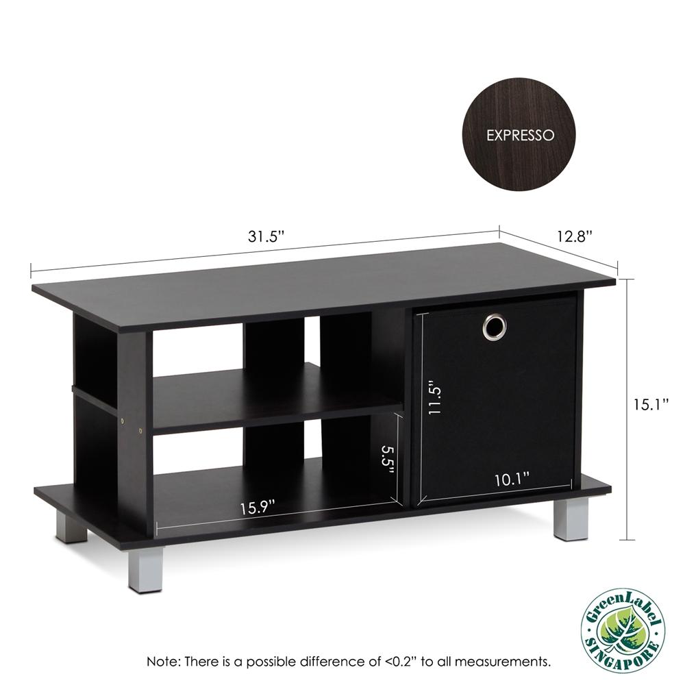 Simplistic TV Entertainment Center with Bin Drawers, Espresso/Black. Picture 2